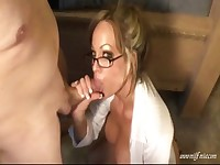 Cute MILF will have to clean her glasses