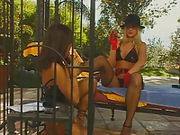 2 lesbian hotties using their toys outdoors