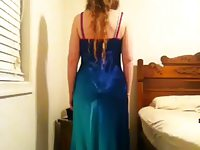 Nerdy Teen Shows Off Her Sexy Blue Ombre Satin Prom Dress