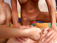 Lesbian teen threesome, really cute girls